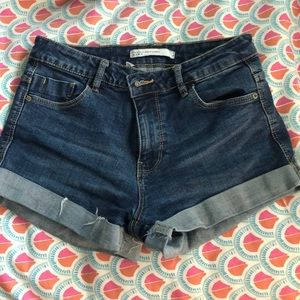 high waisted zara dark wash denim shorts